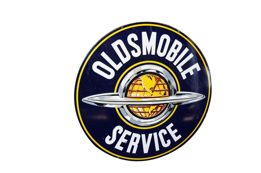 Striking 1950s Oldsmobile double-sided porcelain dealership sign with globe logo. Very clean! - Front 3/4 - 151903