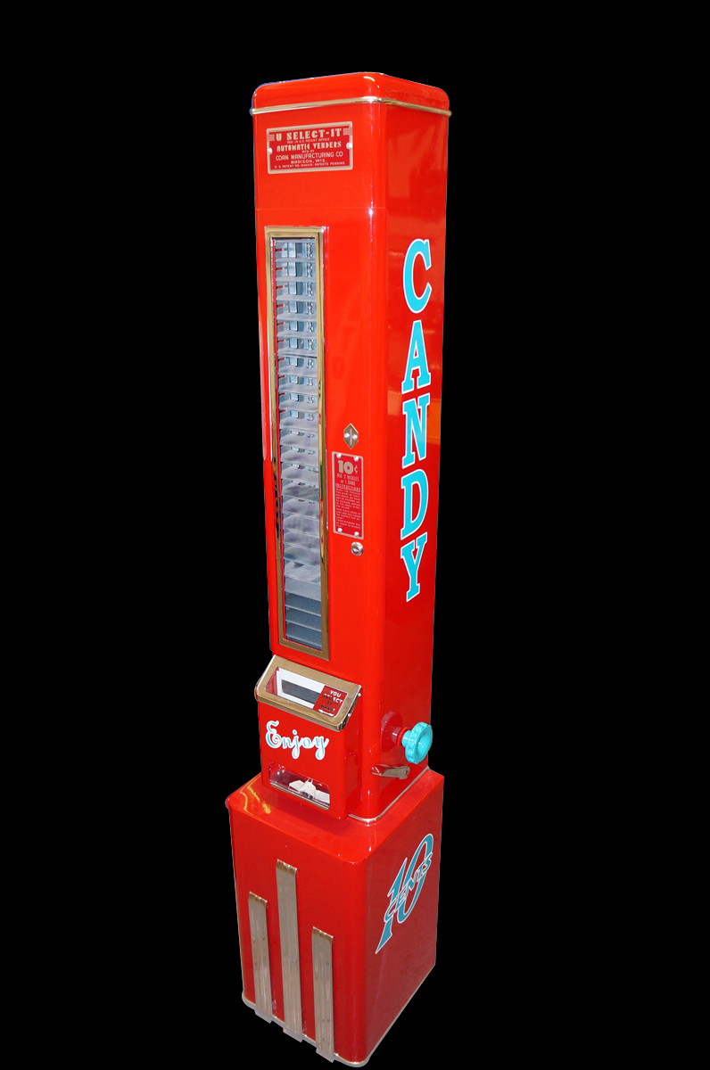 Exquisitely restored 1950s U-Select-It service station ten cent candy/gum machine. - Front 3/4 - 151909