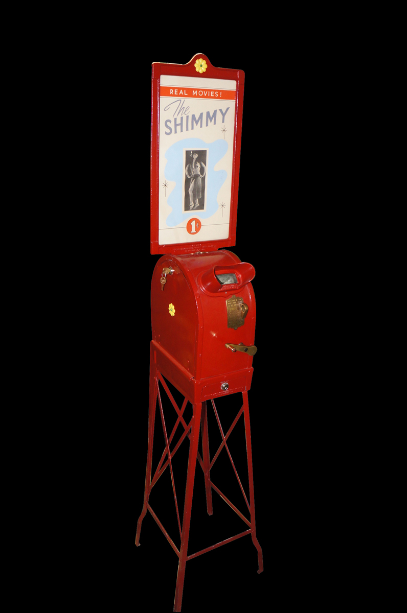 """Authentic 1920s one cent coin operated mutoscope featuring """"The Shimmy"""". - Front 3/4 - 151910"""