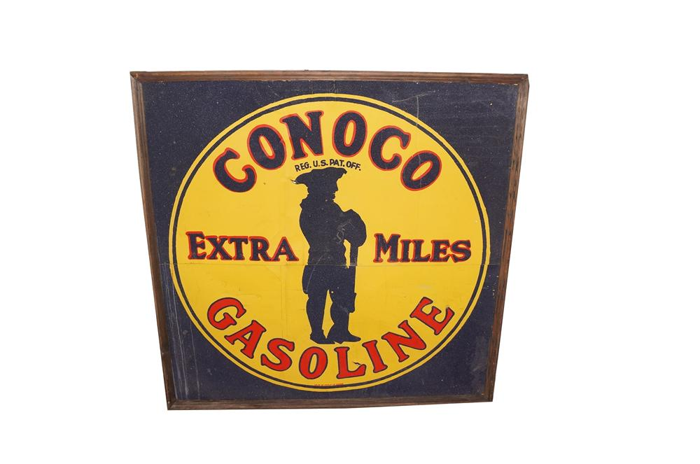 N.O.S. 1920s-30s museum quality Conoco Gasoline single-sided tin painted wood framed garage sign. - Front 3/4 - 151916