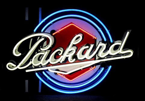 Highly desirable 1930s Packard Automobiles single-sided neon porcelain dealership sign.  Simply immaculate! - Front 3/4 - 151923