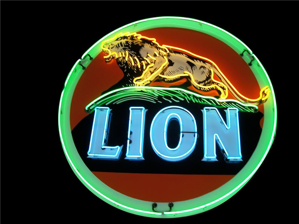 Magnificent 1940s-50s Lion Oil single-sided porcelain neon service station sign.  Beautiful colors and condition. - Front 3/4 - 151924