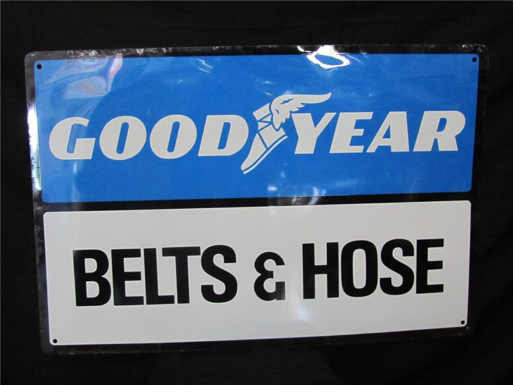 Vintage Good Year Tires Belts and Hose tin automotive garage sign. - Front 3/4 - 151969