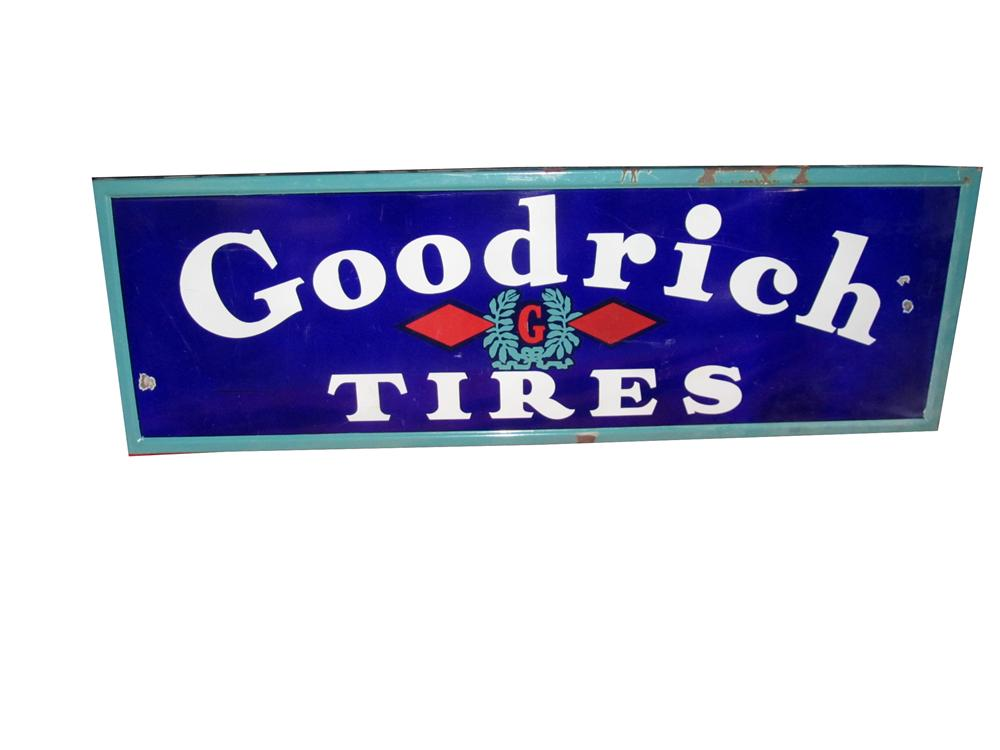 Good looking 1930s-40s Goodrich Tires self-framed horizontal porcelain garage sign. - Front 3/4 - 151971