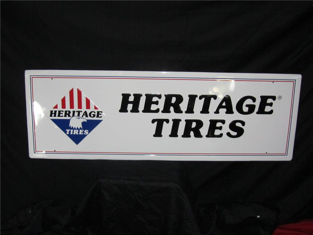 N.O.S. Heritage Tires embossed tin garage sign with Eagle graphic.  Very clean! - Front 3/4 - 151972