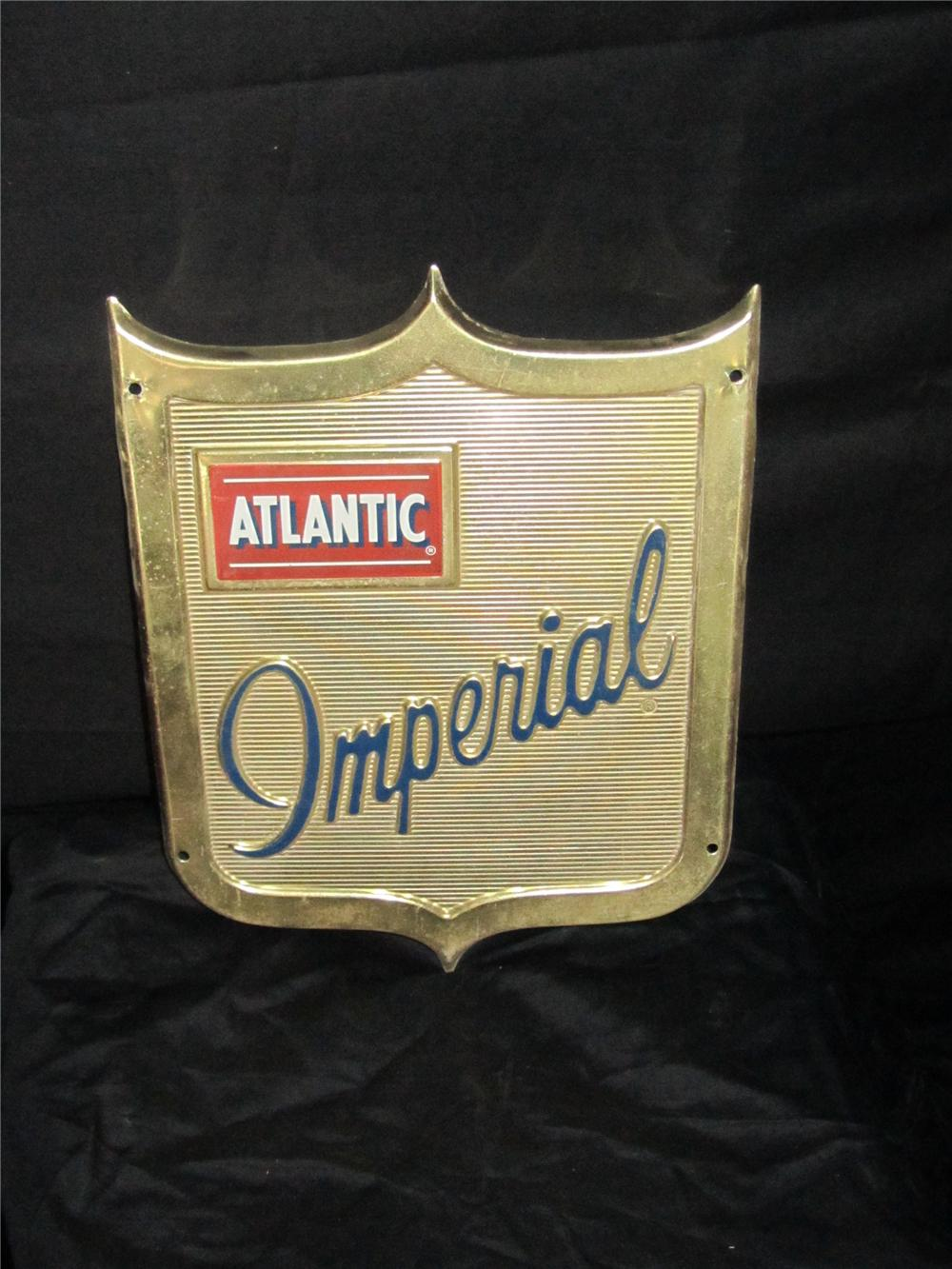 Hard to find 1950s Atlantic Imperial Gasoline shield shaped pump plate sign. - Front 3/4 - 151977