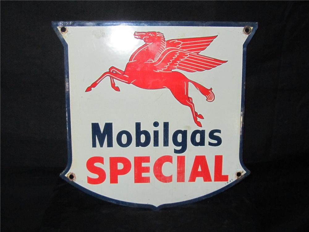 1947 Mobilgas Special porcelain pump plate sign with Pegasus logo. - Front 3/4 - 151978