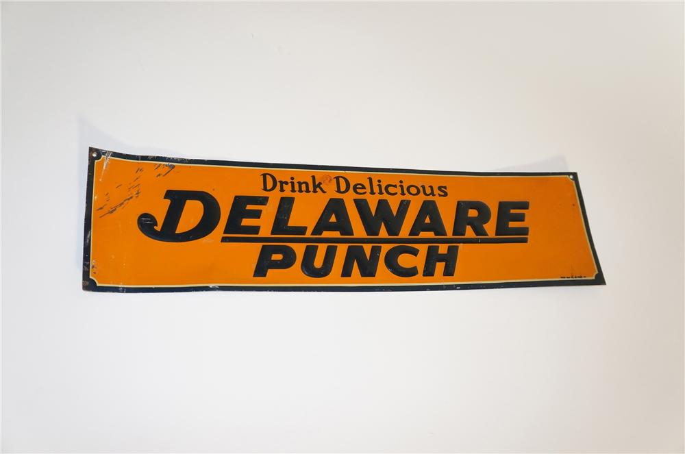 Fabulous N.O.S. 1928 Delaware Punch single-sided tin painted general store sign. - Front 3/4 - 151985