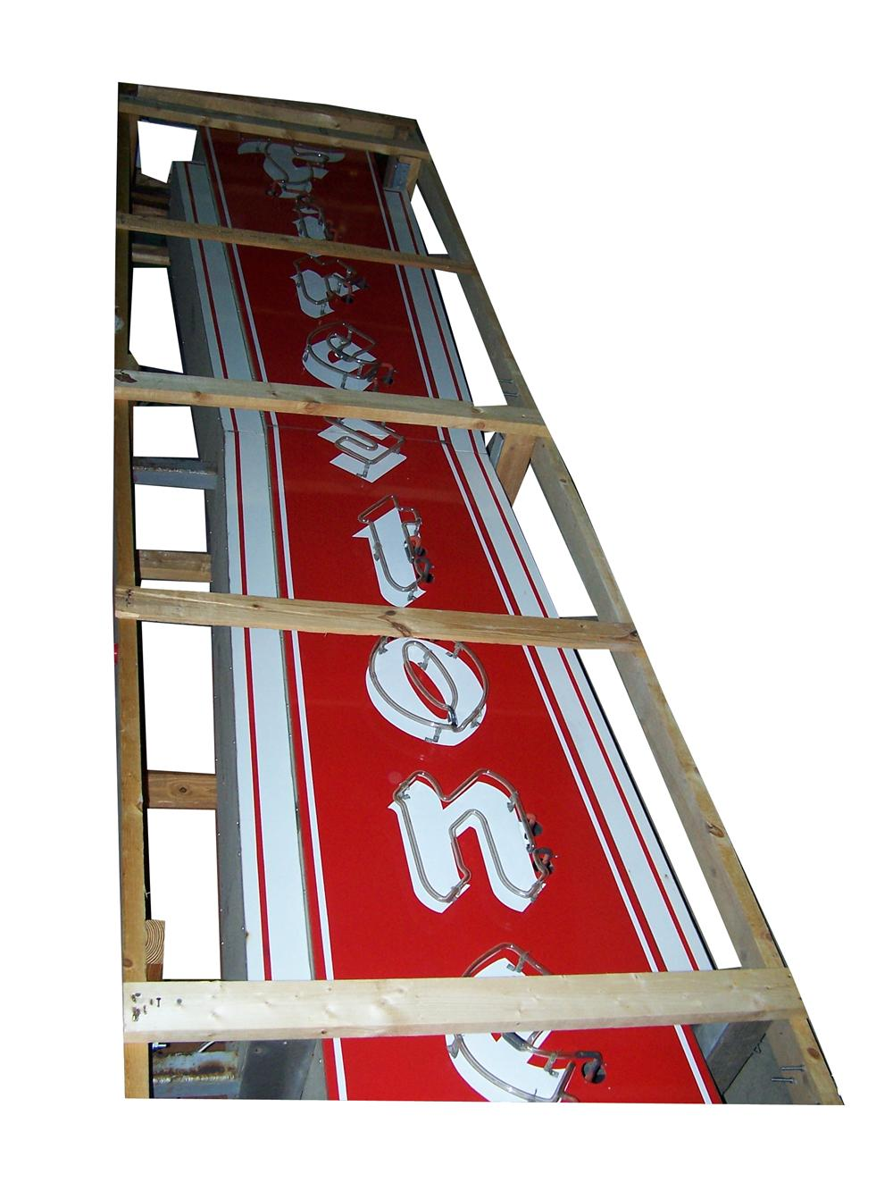 Large vertical 1950s Firestone Tires double-sided neon porcelain automotive garage sign. - Front 3/4 - 151994