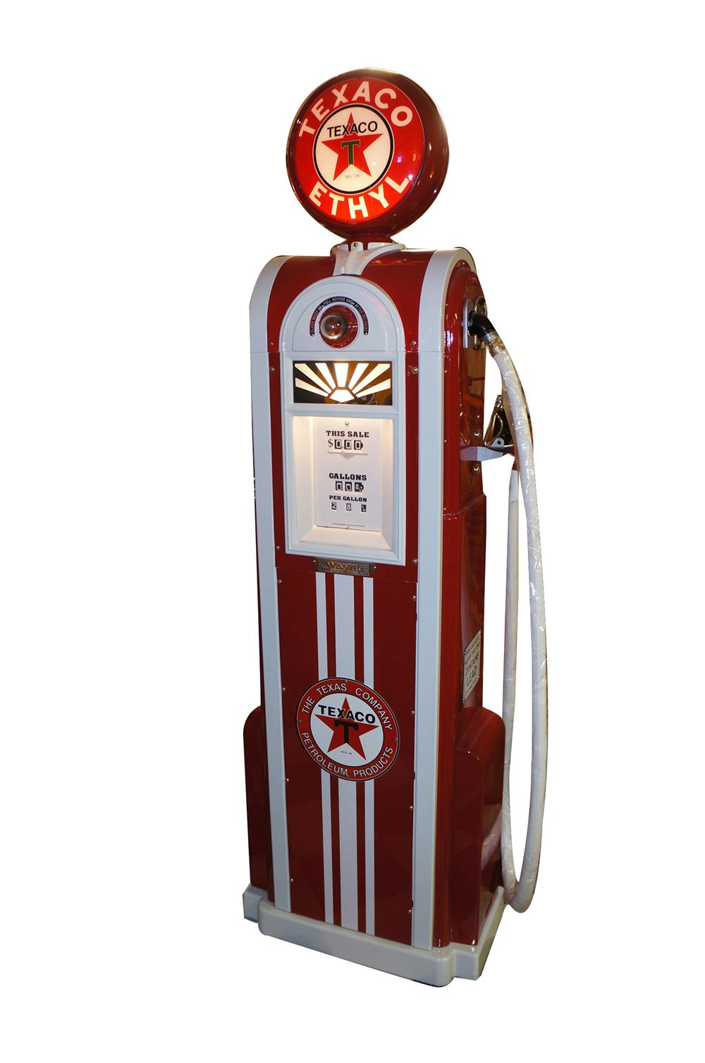 Magnificent 1930s professionally restored Texaco Oil Wayne 60 filling station gas pump.  One of the most desirable pumps of ... - Front 3/4 - 154368