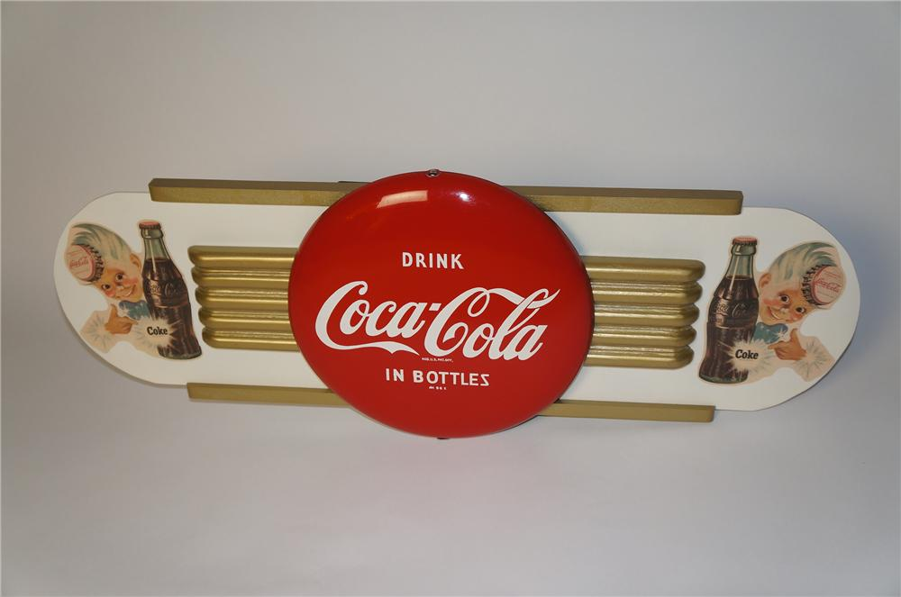 "Gorgeous N.O.S. late 1940s-early 50s Coca-Cola Kay Display winged metal 12"" button with Sprite Boy logo. - Front 3/4 - 154370"