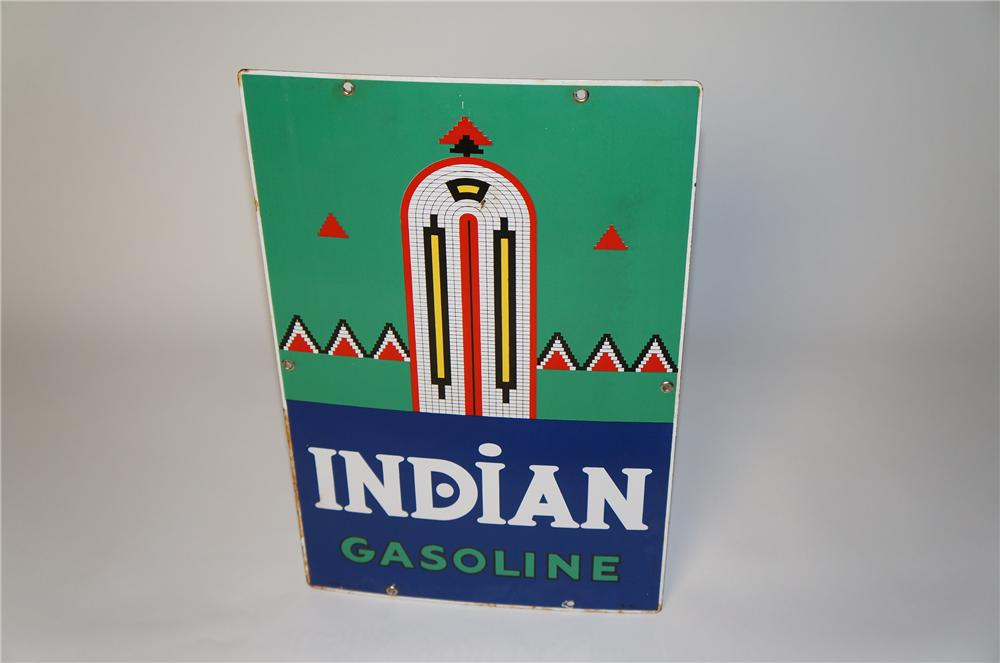 Hard to find 1941 Texaco Indian Gasoline porcelain pump plate sign with Navajo design. - Front 3/4 - 154372