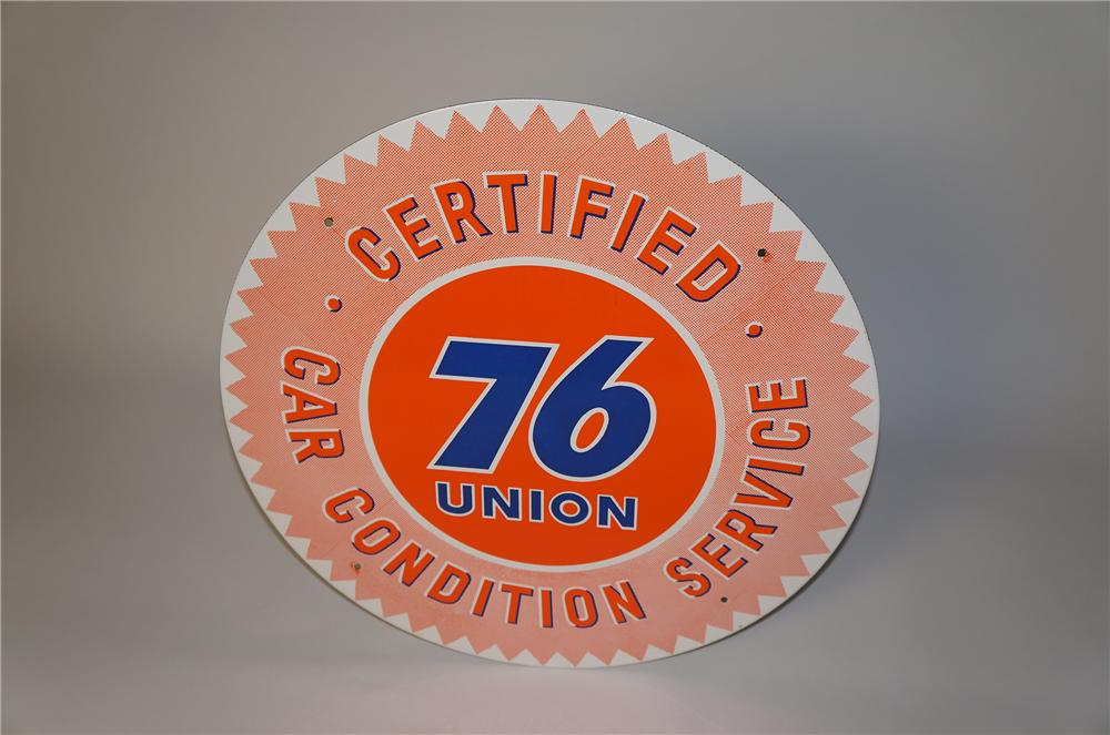 Sharp N.O.S. 1950s Union 76 Certified Car Condition Service single-sided porcelain service station sign. - Front 3/4 - 154373