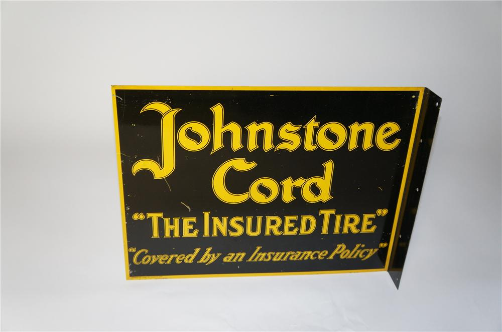 "Rare 1920s-30s Johnstone Cord ""The Insured Tire"" double-sided tin garage flange sign. - Front 3/4 - 154374"