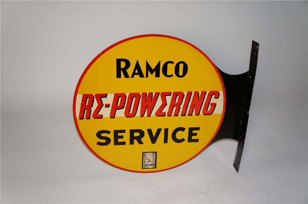 Rare 1930s Ramco Re-Powerizing Service double-sided tin painted garage flange sign with piston graphic. - Front 3/4 - 154375