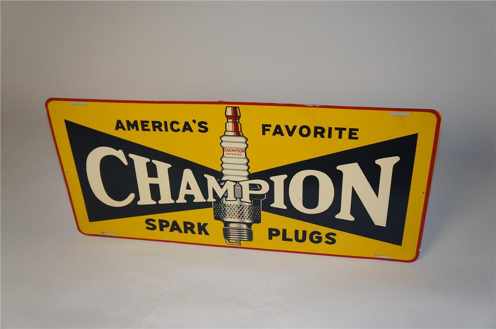 Sharp 1940s Champion Spark Plugs single-side tin painted garage sign with spark plug graphic. - Front 3/4 - 154376