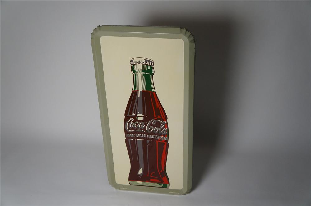 Hard to find N.O.S. 1952 Coca-Cola self-framed tin sign with killer bottle graphic. - Front 3/4 - 154381