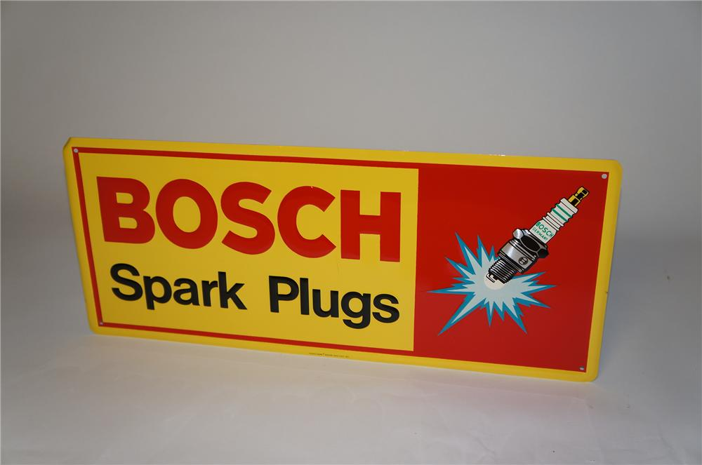 N.O.S. vintage Bosch Spark Plugs tin garage sign with fabulous spark plug graphic. - Front 3/4 - 154382