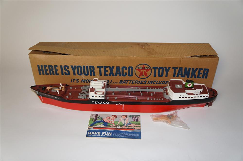 "1961 N.O.S. Texaco Motor Oil promotional battery operated toy oil tanker ship ""The North Dakota"" still in the original box. - Front 3/4 - 154383"