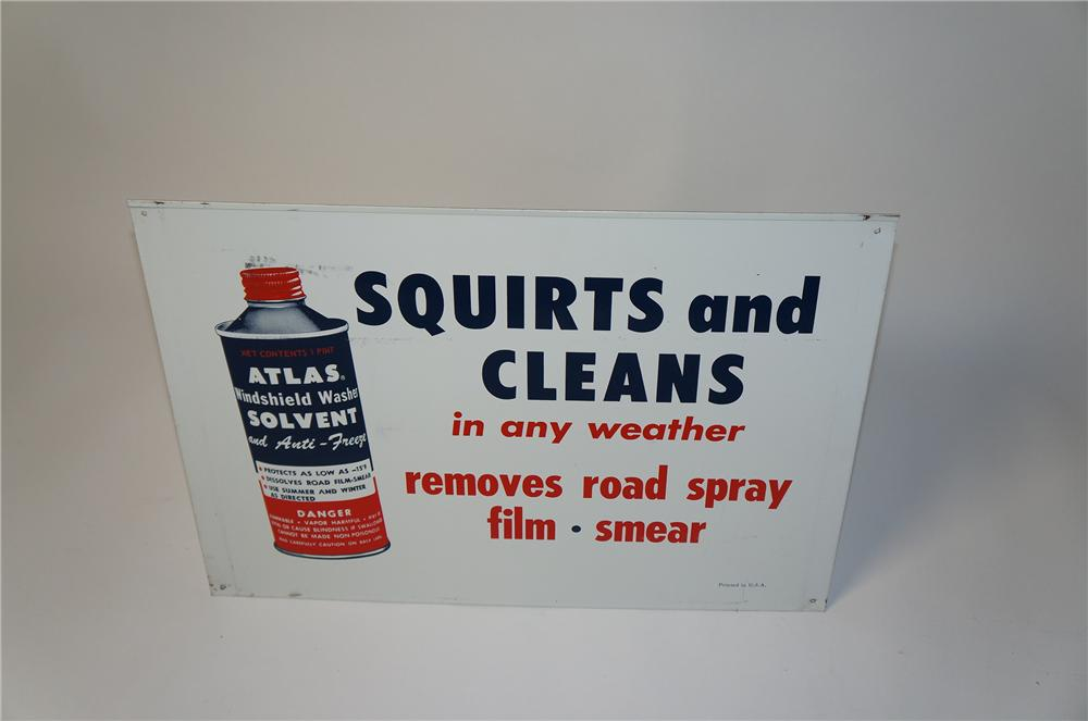 Interesting 1950s Standard Oil Atlas Windshield Washer Solvent tin sign. Reverse side has different message. - Front 3/4 - 154385