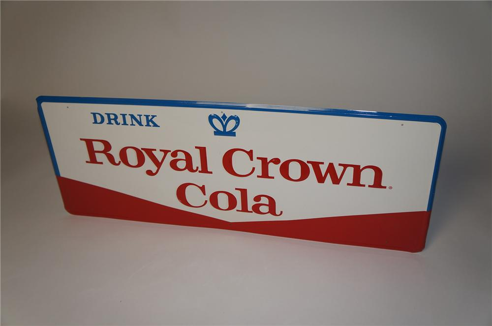 N.O.S. 1950s-60s Royal Crown Cola embossed tin sign.  Found in the original shipping paper! - Front 3/4 - 154388