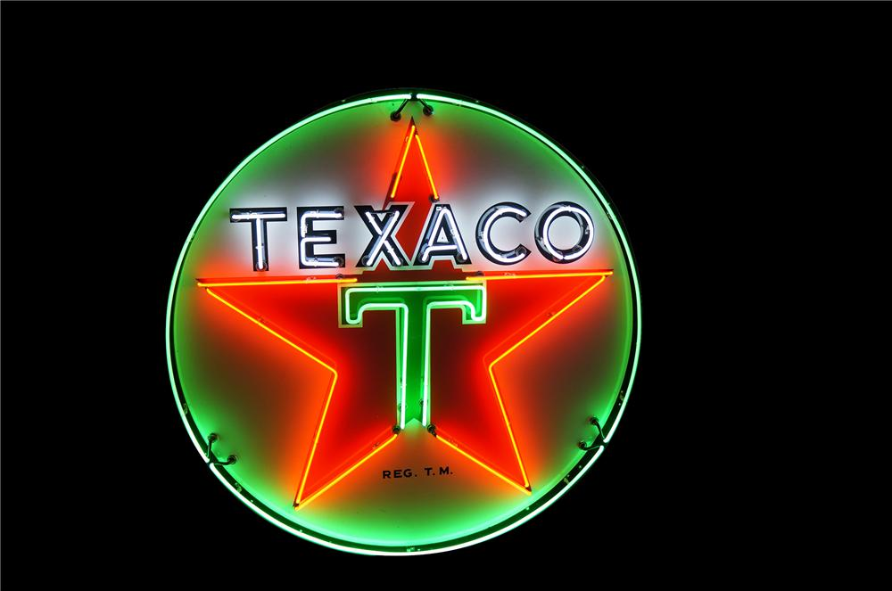 Outstanding 1940s-50s Texaco Service Station single-sided porcelain station sign with animated neon. - Front 3/4 - 154391