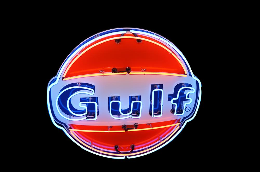 Small and unusual 1950s Gulf Oil single-sided porcelain service station sign with neon.  Great size!!! - Front 3/4 - 154394