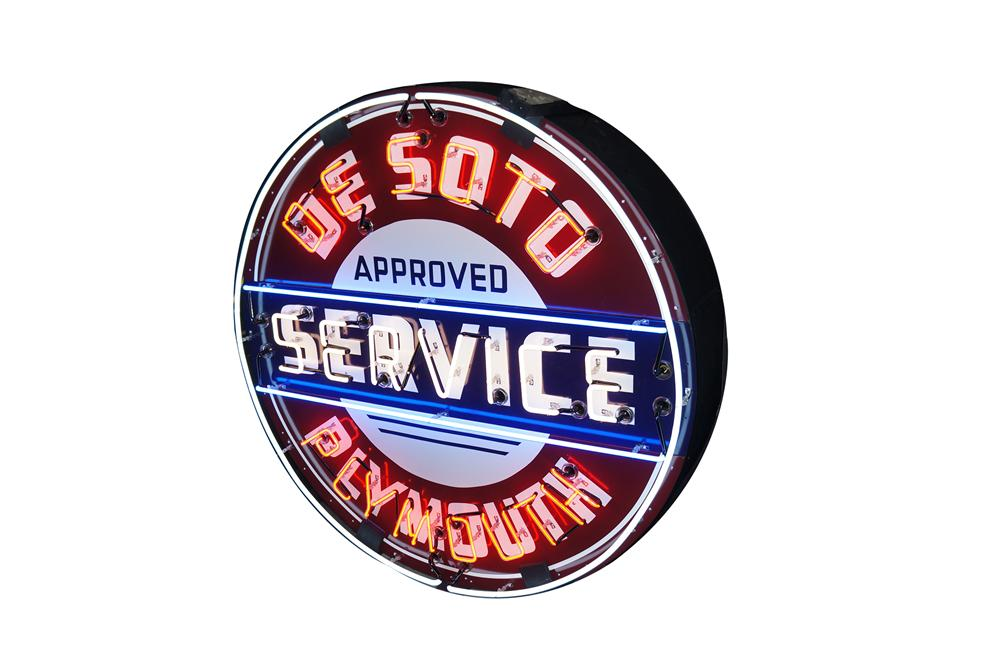 Beautiful 1950s De Soto Plymouth Approved Service double-sided porcelain neon dealership sign. - Front 3/4 - 154397