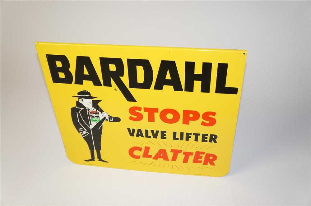 "N.O.S. 1960s Bardahl ""Stops Valve Lifter Clatter"" single-sided tin sign with fun graphics. - Front 3/4 - 154399"