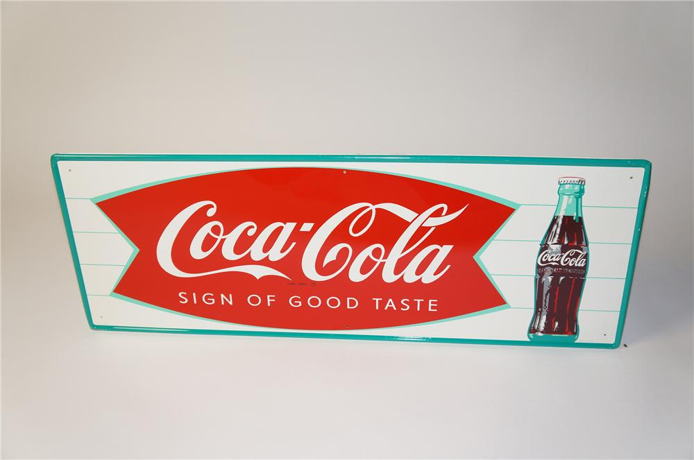Sharp N.O.S. 1950s Coca-Cola green bordered bottle sign with Sign of Good Taste fishtail logo. - Front 3/4 - 154404