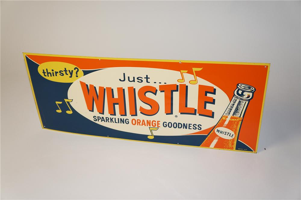 Seldom seen N.O.S. 1950s Whistle Orange Soda single-sided tin sign with bottle graphic. - Front 3/4 - 154405