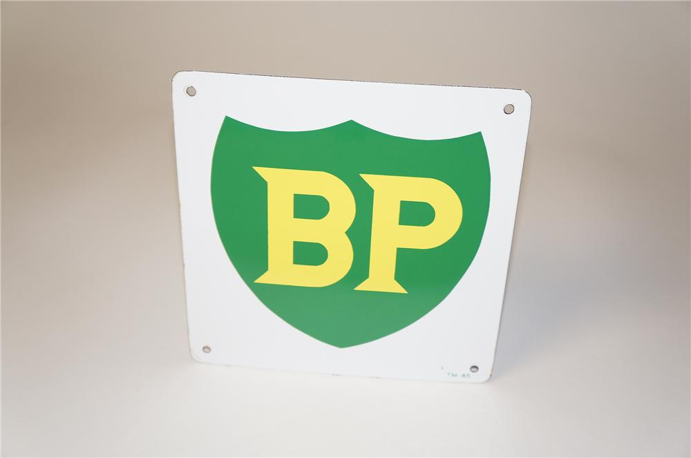 1950s BP (British Petroleum) single-sided porcelain pump plate sign. - Front 3/4 - 154411