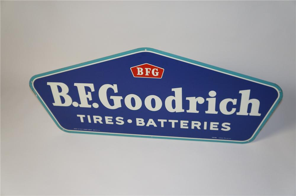"N.O.S. 1960 B.F. Goodrich ""Tires and Batteries"" single-sided tin horizontal garage sign. - Front 3/4 - 154418"