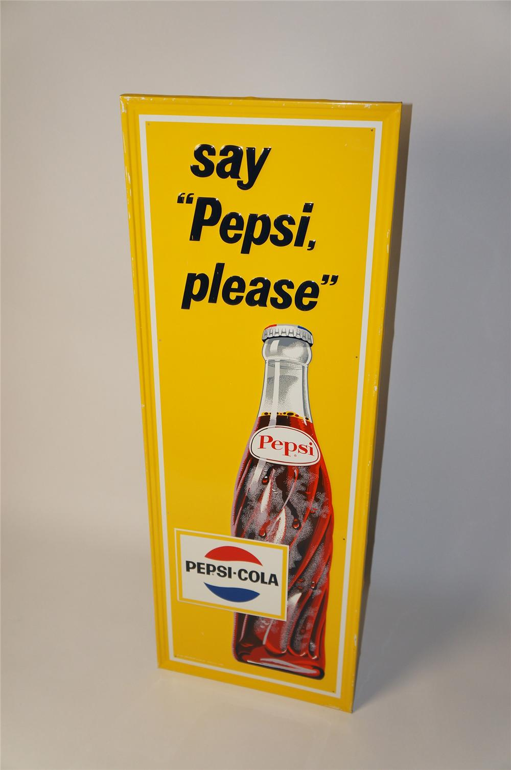 "Killer N.O.S. early 1960s Pepsi-Cola ""Say Pepsi Please"" self-framed vertical tin sign with bottle graphic. - Front 3/4 - 154420"