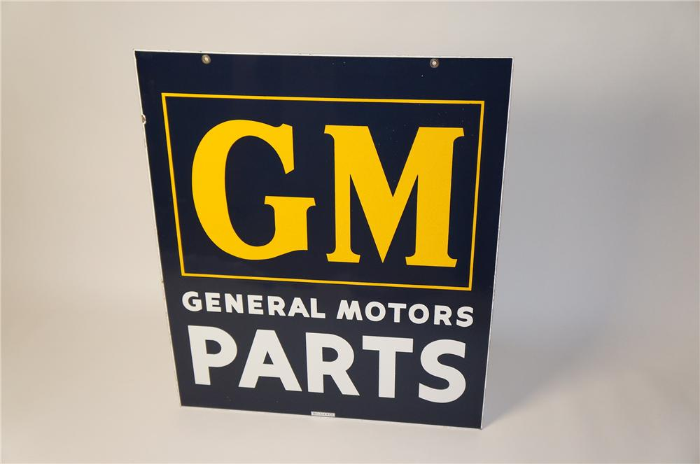 Highly prized 1940s-50s GM General Motors Parts double-sided porcelain dealership sign. - Front 3/4 - 154425