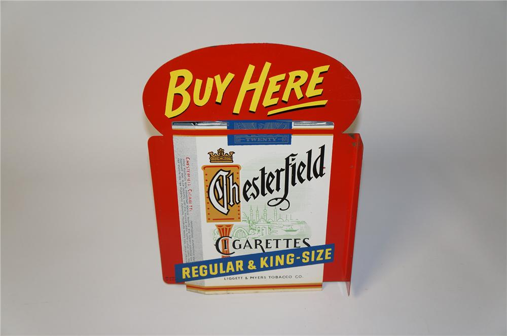 N.O.S. 1950s Chesterfield Cigarettes die-cut tin double-sided flange sign with cigarette pack graphics. - Front 3/4 - 154426