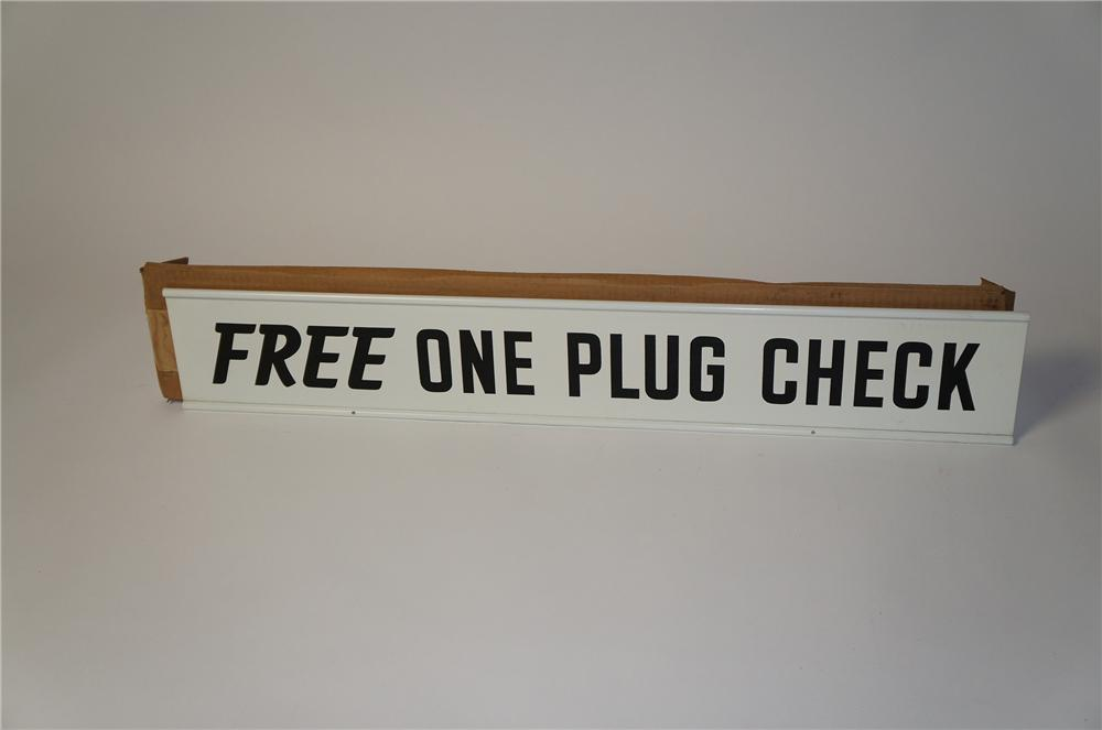 "N.O.S. 1950s Champion Spark Plugs ""Free One Plug Check"" double-sided tin painted garage sign in the original box. - Front 3/4 - 154429"