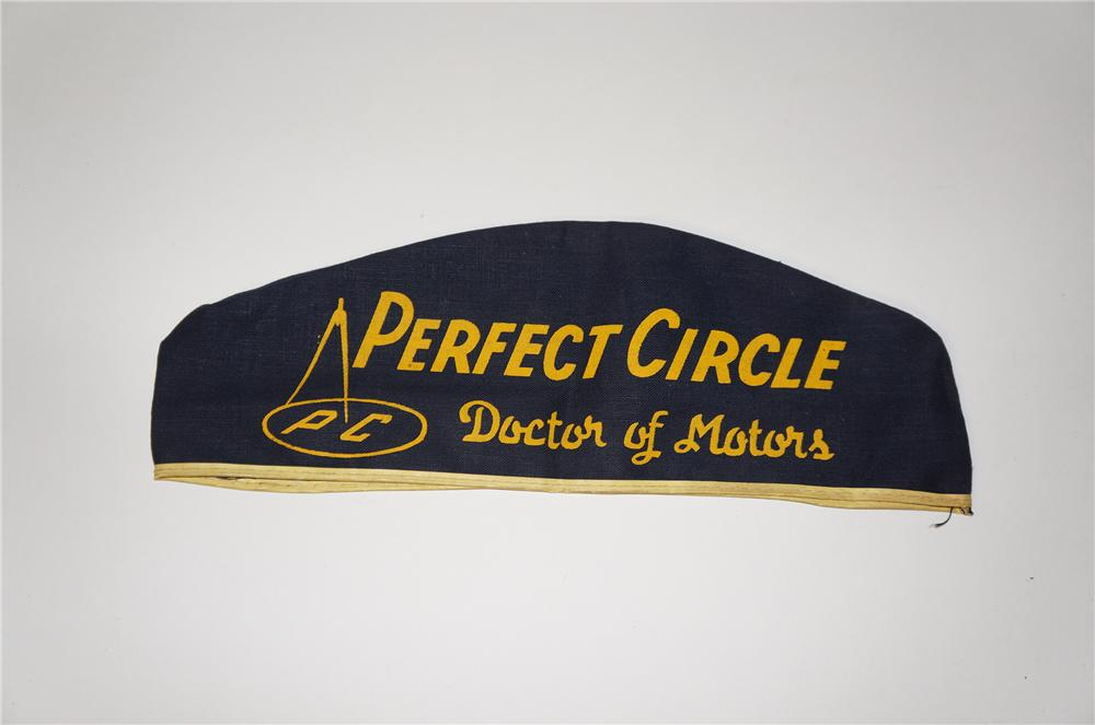 "N.O.S. 1950s Perfect Circle ""Doctor of Motors"" mechanics hat found unused. - Front 3/4 - 154433"