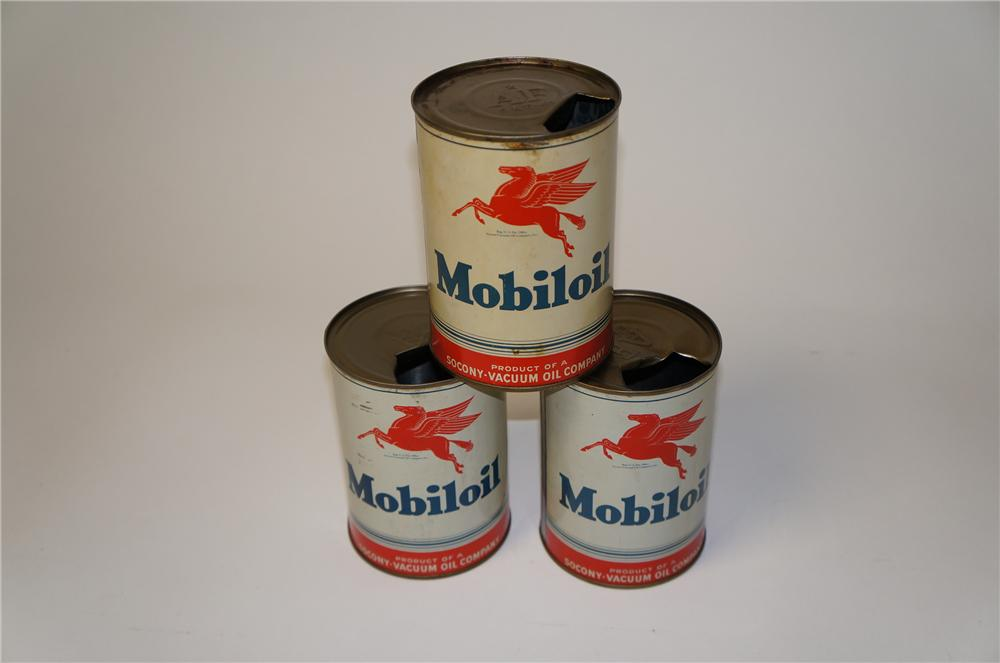 Lot of three 1940s-50s Mobiloil Metal Quart cans with Pegasus logos. - Front 3/4 - 154434