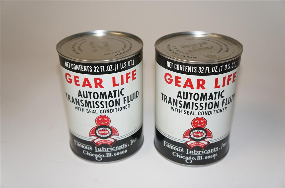 Lot of two 1950s Gear Life Automatic Transmission Fluid metal quart cans. - Front 3/4 - 154435
