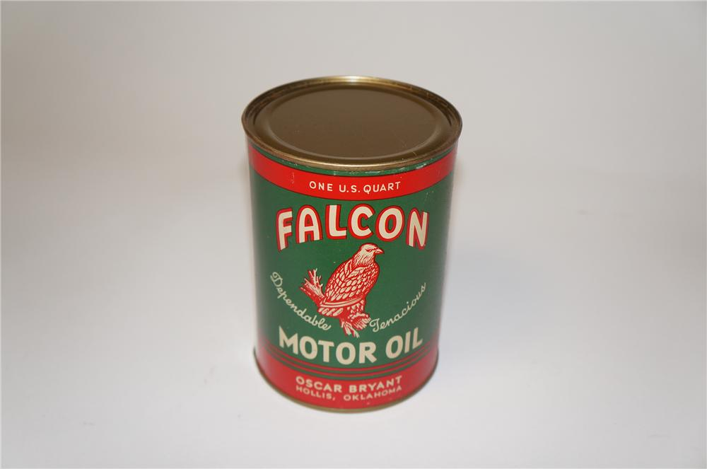 Phenomenal 1930s-40s Falcon Motor Oil metal quart can with nice graphics. - Front 3/4 - 154436