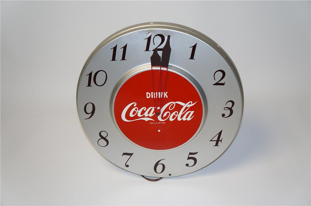 Hard to find 1940s-50s Drink Coca-Cola metal electric wall clock. - Front 3/4 - 154439
