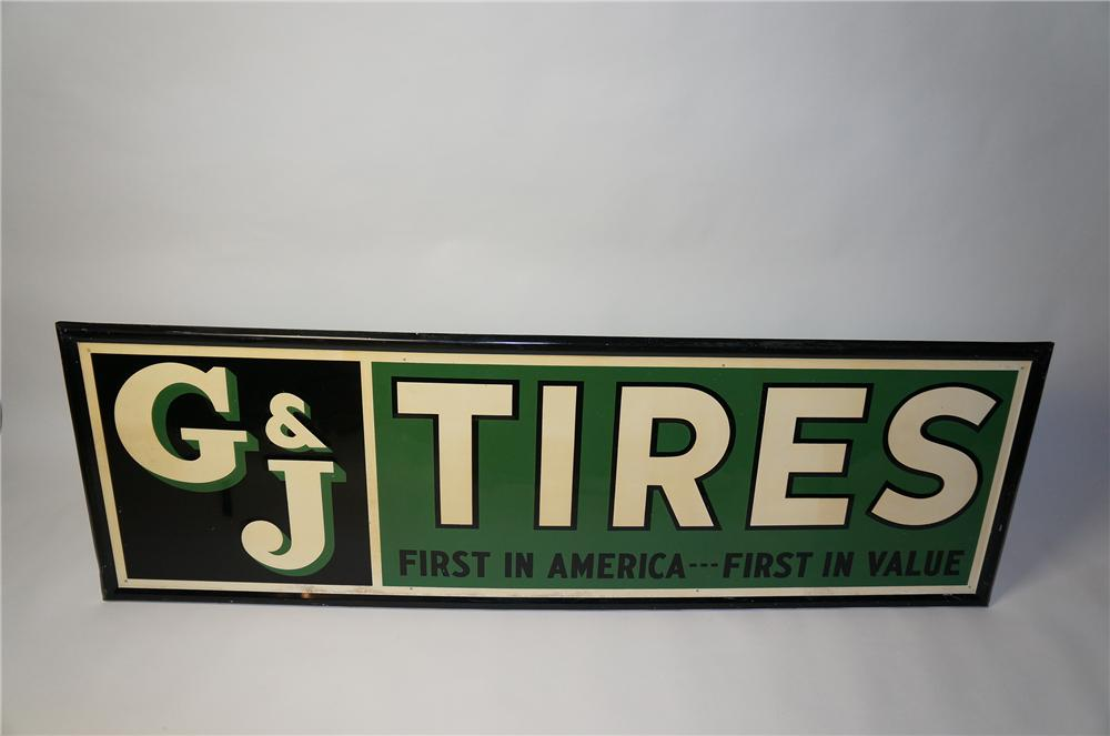 "Extraordinary 1937 G&J Tires ""First in America-First in Value"" self-framed horizontal tin garage sign. - Front 3/4 - 154441"