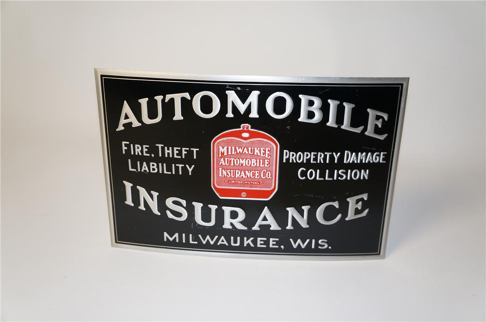 Rare 1930s Milwaukee Automobile Insurance single-sided tin sign with radiator graphics. - Front 3/4 - 154487