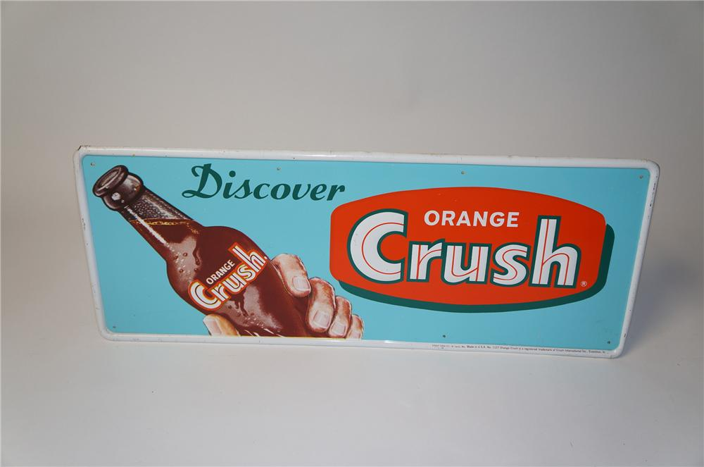Very desirable 1950s Orange Crush Soda horizontal tin sign with hand/bottle graphic. - Front 3/4 - 154488
