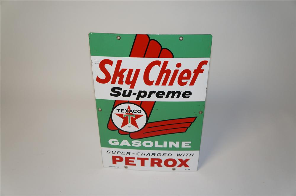 Sharp 1963 Texaco Sky Chief Gasoline with Petrox porcelain pump plate sign. - Front 3/4 - 154489