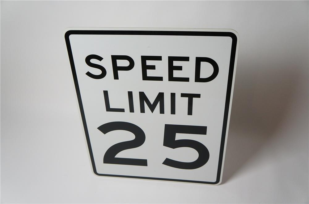 N.O.S. Speed Limit 25 metal highway road sign found unused. - Front 3/4 - 154491
