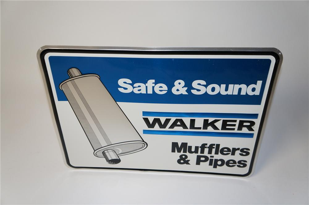 "N.O.S. Walker Mufflers ""Safe and Sound Muffler and Pipes"" embossed tin garage sign. - Front 3/4 - 154492"
