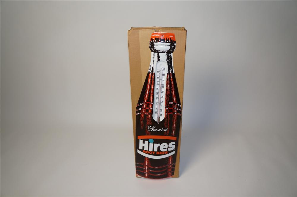 N.O.S. early 1960s Hire Root Beer over-sized die-cut tin bottle shaped thermometer still in the original box. - Front 3/4 - 154495