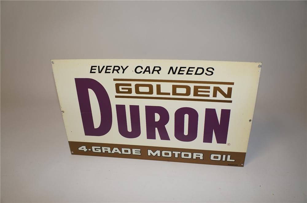 N.O.S. 1950s Golden Duron 4-Grade Motor Oil single-sided tin garage sign. - Front 3/4 - 154496